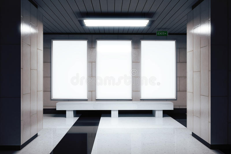 Blank white banners on the wall in empty subway hall stock illustration