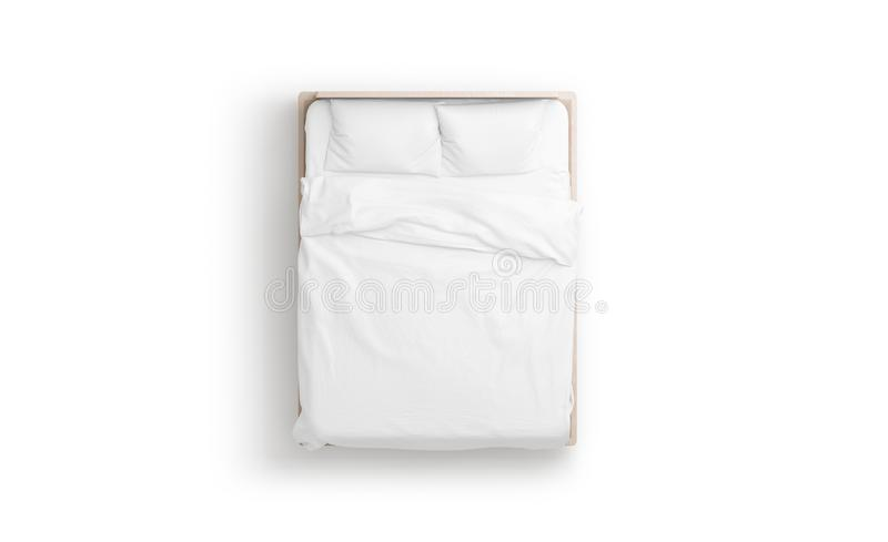 Blank white bed mock up, top view isolated,. 3d rendering. Empty blanket and pillows mockup in bedstead. Doss with mattress and bedsheet in place for sleep royalty free illustration