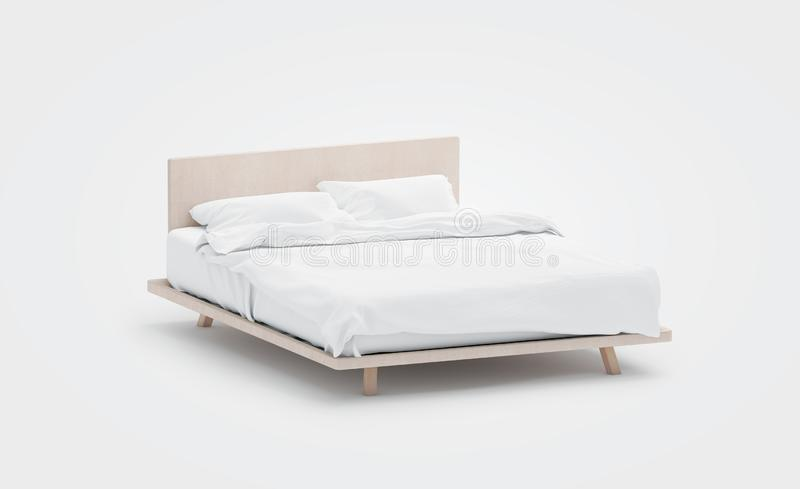 Blank white bed with pillows mockup, side view, isolated,. 3d rendering. Empty bedclothes mock up. Clear blanket in bedstead. Doublebed with mattress and royalty free illustration