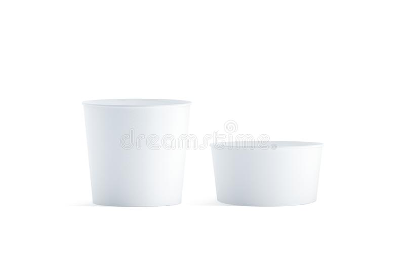 Blank white big and small food bucket mockup set, isolated royalty free stock image