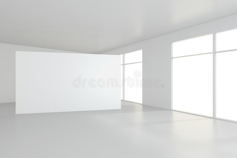 Blank white billboard in empty room with big windows, mock up, 3D Rendering royalty free stock photo