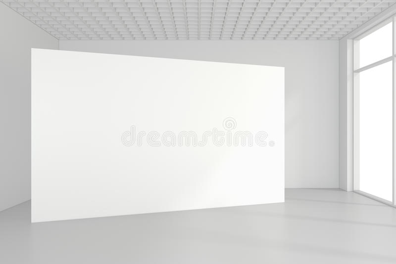 Blank white billboard in empty room with big windows, mock up, 3D Rendering stock photography