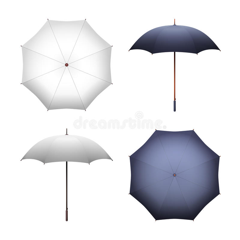 Blank white and black umbrella for merchandise advertising vector illustration. Blank white and black umbrella for merchandise and advertising vector vector illustration