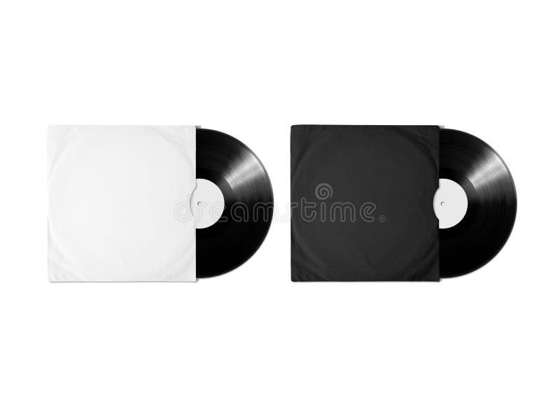 Blank white black vinyl album cover sleeve mockup, clipping path. Blank white and black vinyl album cover sleeve mockup, isolated, clipping path. Gramophone stock photos
