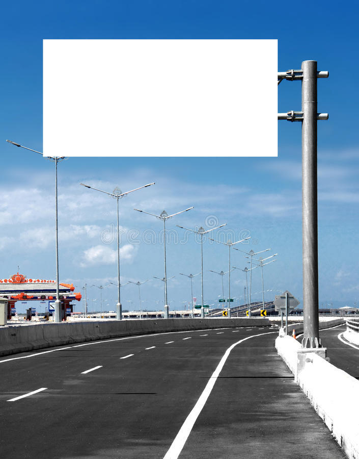 Blank White Blank board or billboard or roadsign in the street royalty free stock image