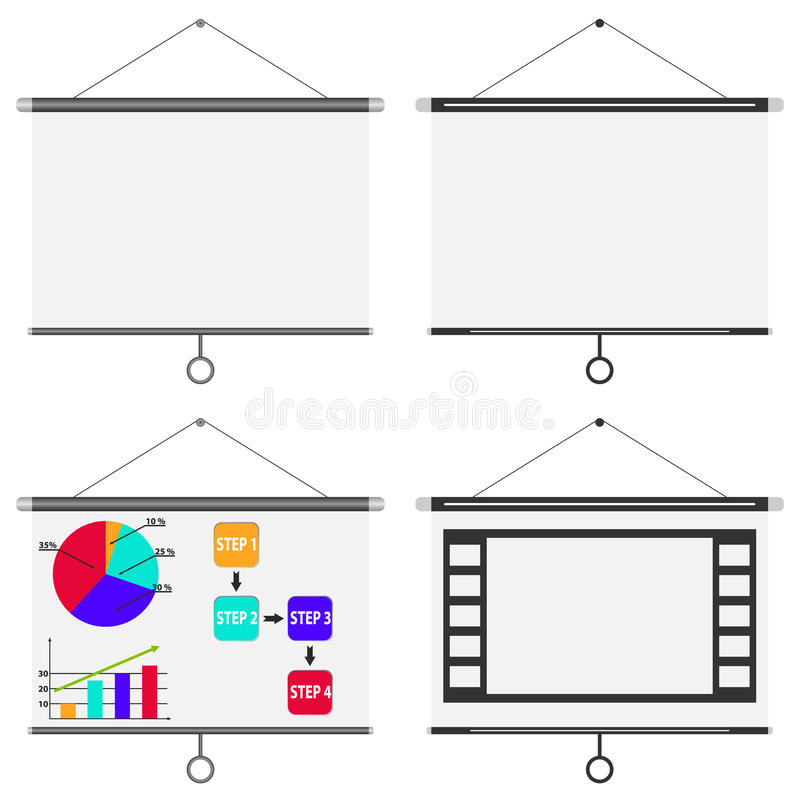 Blank white board, meeting projector screen stock illustration
