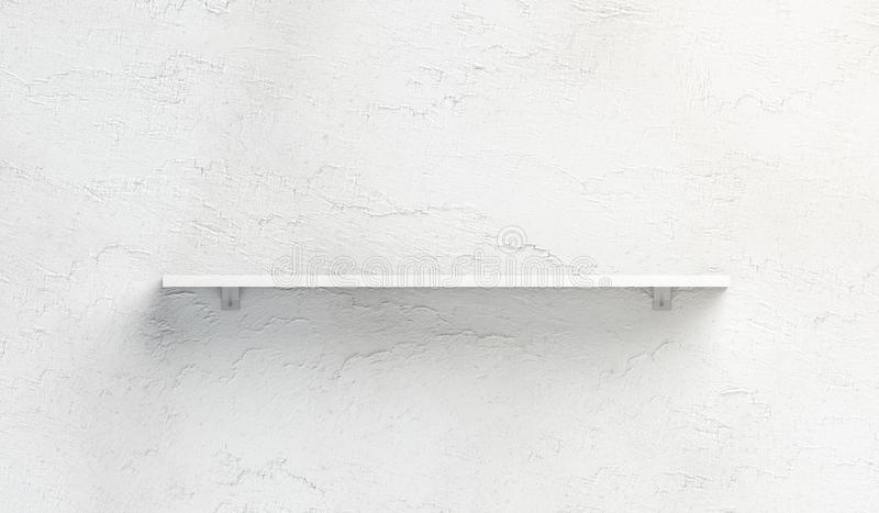 Blank white book shelf mockup mounted on wall royalty free illustration