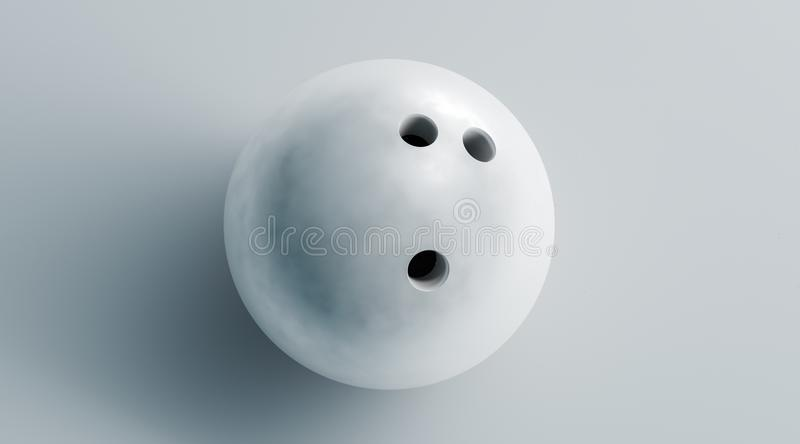 Blank white bowling ball mock up, top view, 3d rendering. royalty free stock photography