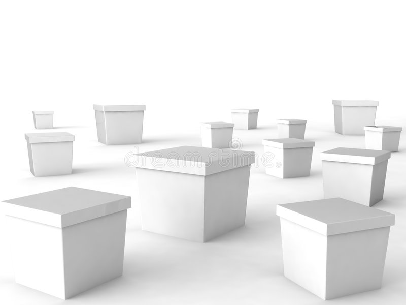 Blank white box. Lying on white background stock illustration