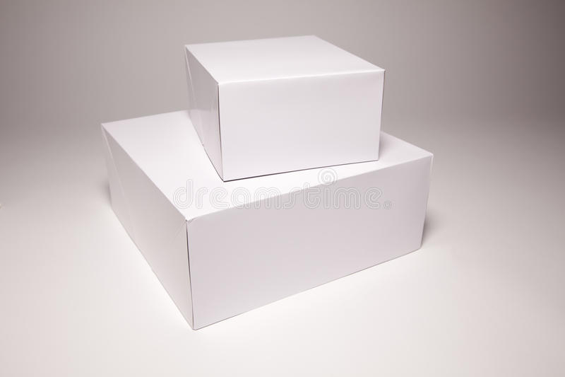 Blank White Box on Grey stock photography