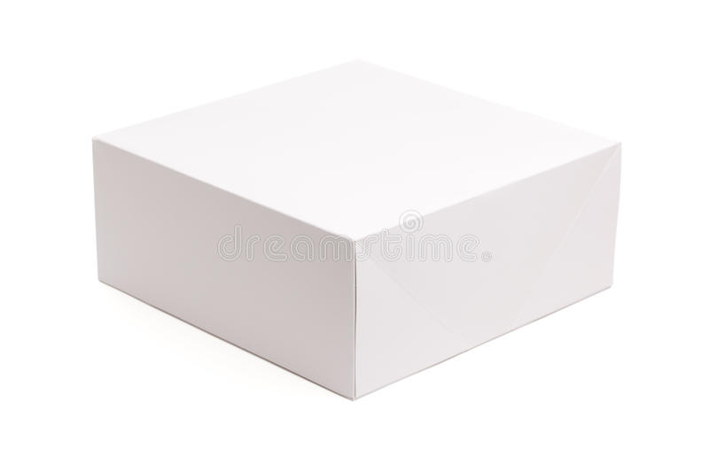 Blank White Box Isolated on White stock image