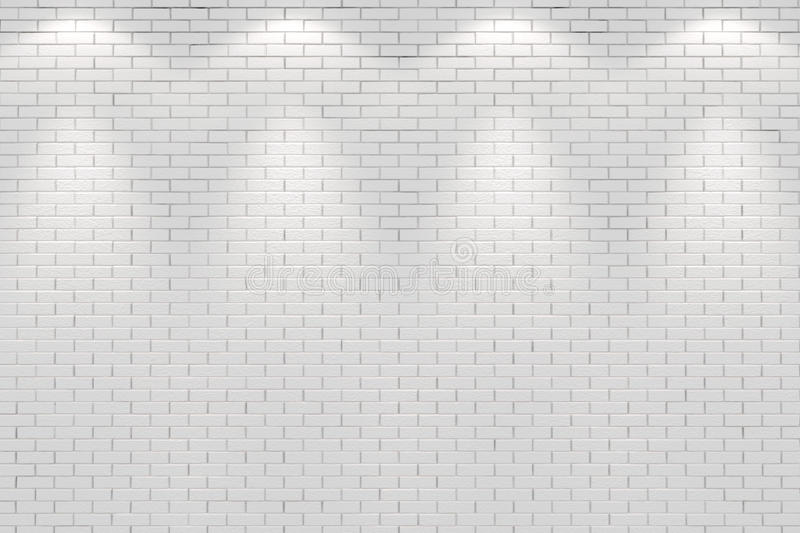 Blank white brick wall lit by four spot lights royalty free illustration