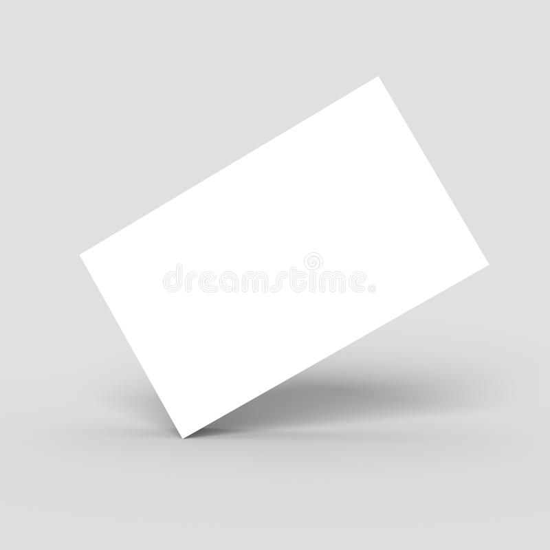 Blank white business card isolated. Blank white business card standing on its corner edge isolated, with shadows, 3D stock illustration