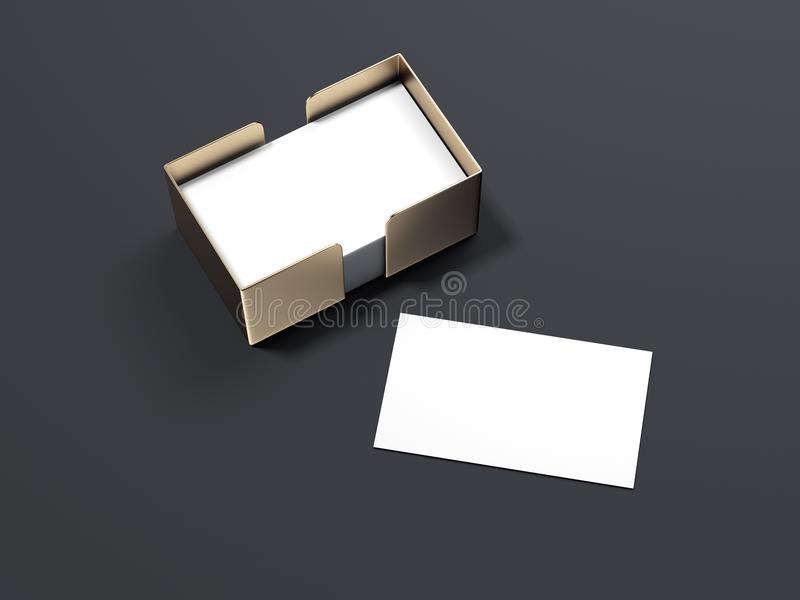 Blank white business cards with golden holder. 3d rendering. Blank white business cards with golden holder isolated on dark background. 3d rendering vector illustration