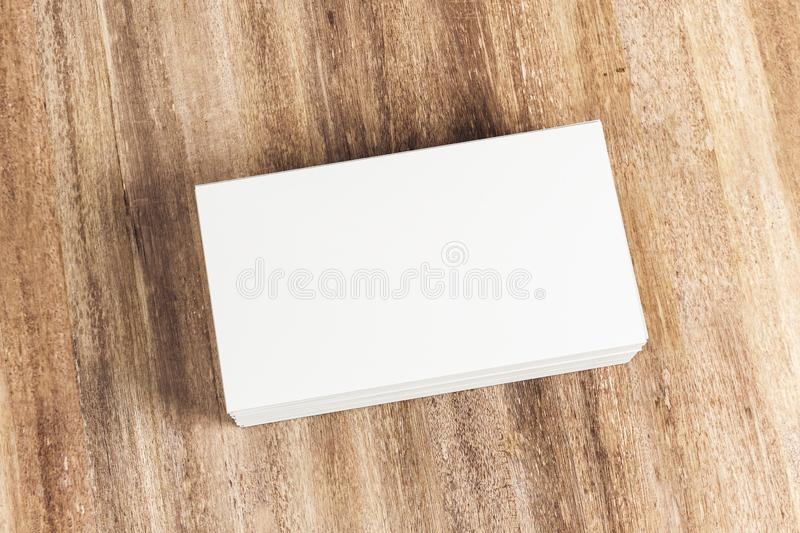 Blank white business cards on table vector illustration
