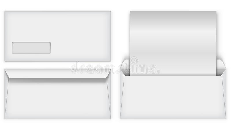 Blank White Business Postal Envelope Template Stock Vector