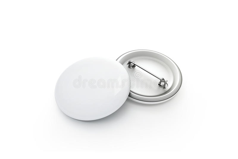 Blank white button badge stack mockup, isolated, clipping path, royalty free stock photo