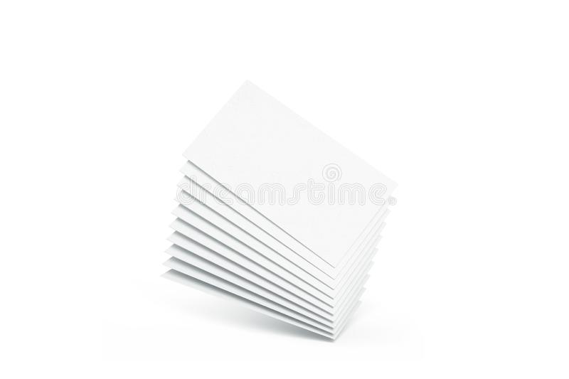Blank white calling business cards heap mockup, no gravity,. Blank white calling business cards heap mockup, 3d rendering. Empty namecard stack mock up. Clear stock illustration