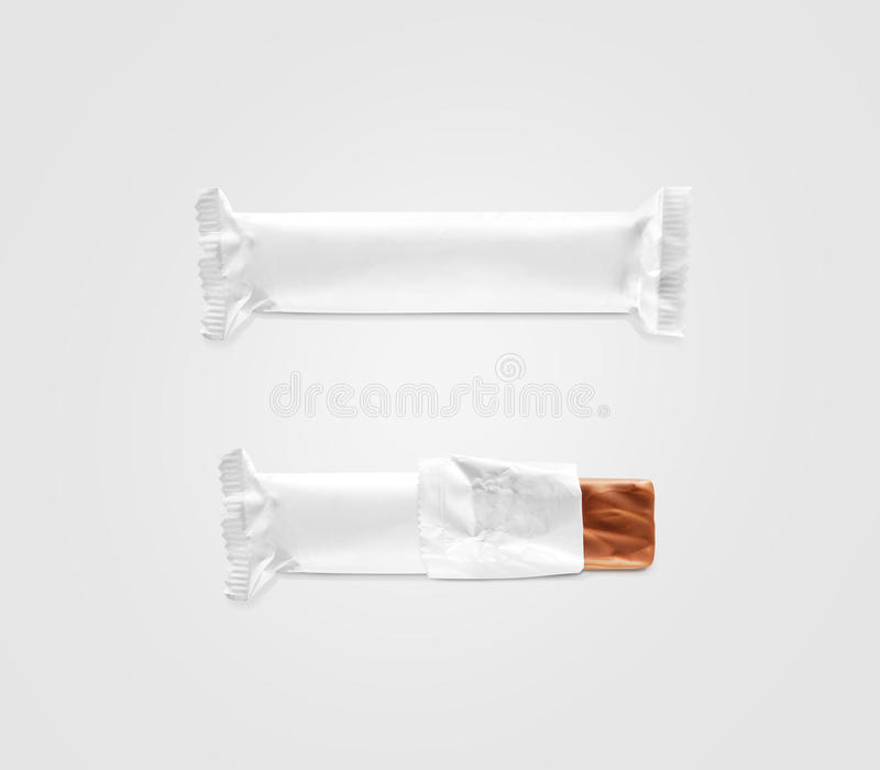 Blank white candy bar plastic wrap mockup isolated. Closed and opened chocolate bar packaging wrapper template. Choco factory logo candybar package mock up stock photo