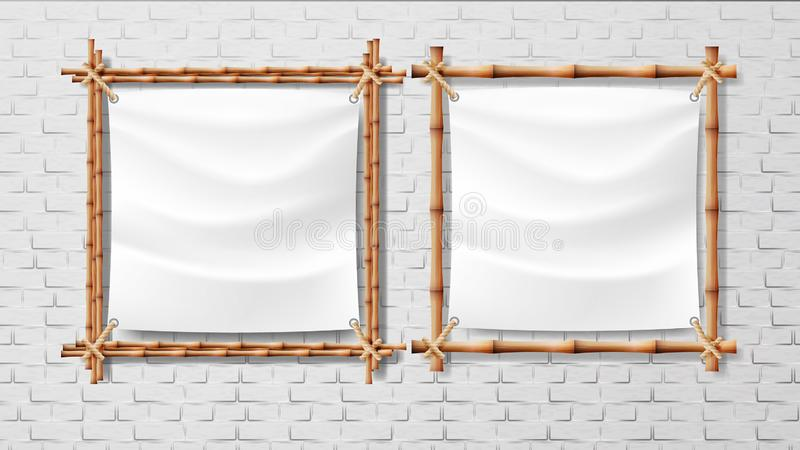 Blank White Canvas In Bamboo Frames Set Vector royalty free illustration