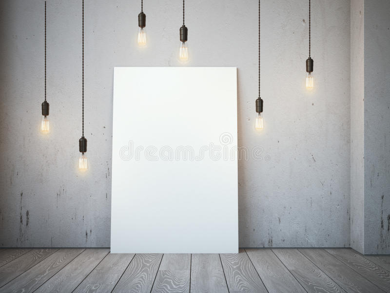 Blank white canvas with glowing bulbs in the loft interior. royalty free stock image