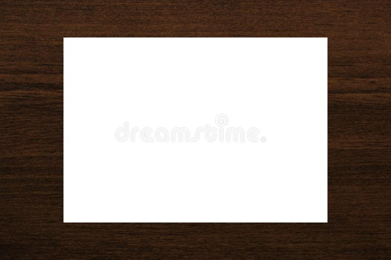 Blank white card abstract on natural brown wood plank texture background royalty free stock photos