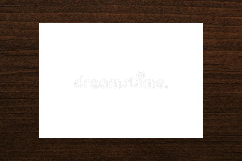 Blank white card abstract on natural brown wood plank texture background stock image