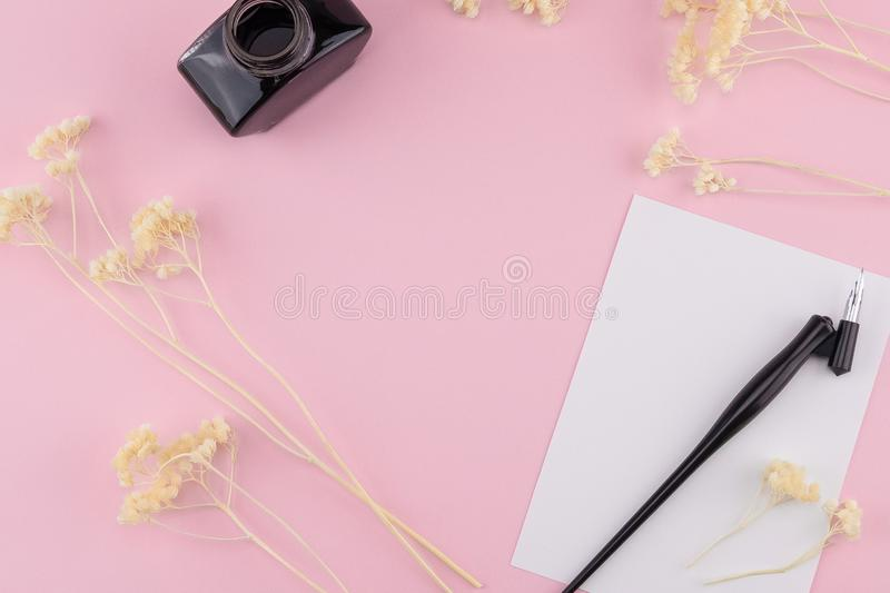 Blank white card, oblique pen and ink royalty free stock images