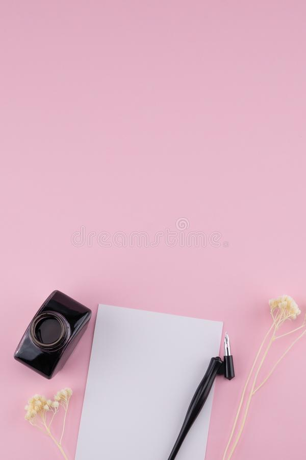 Blank white card, oblique pen and ink stock images