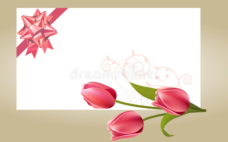 Blank white card with pink bow stock illustration