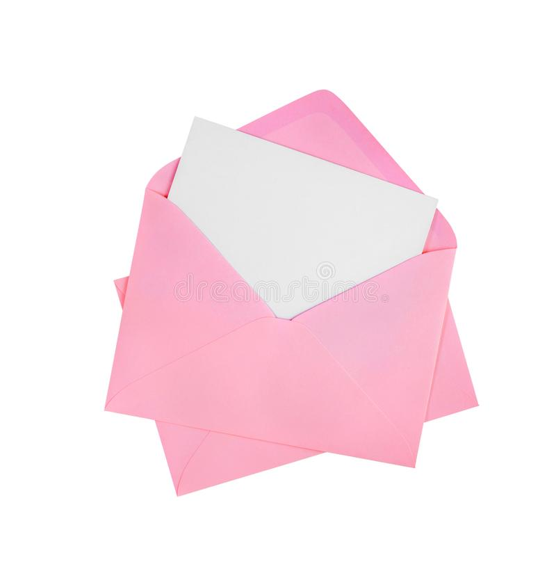 White card and pink envelope stock images