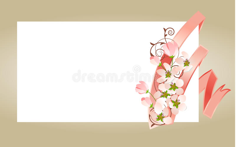 Blank white card with pink ribbon royalty free illustration