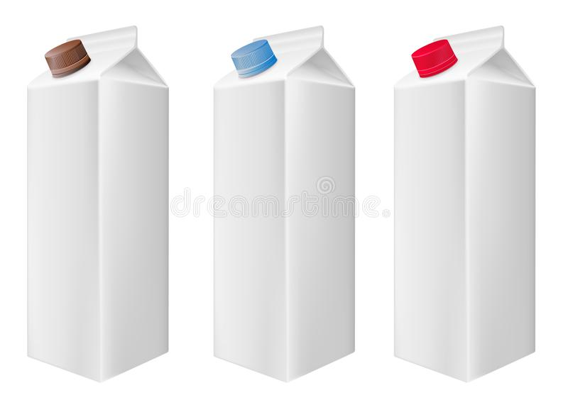 Blank white carton boxes packages. Cartons with cap. Vector illustration stock illustration