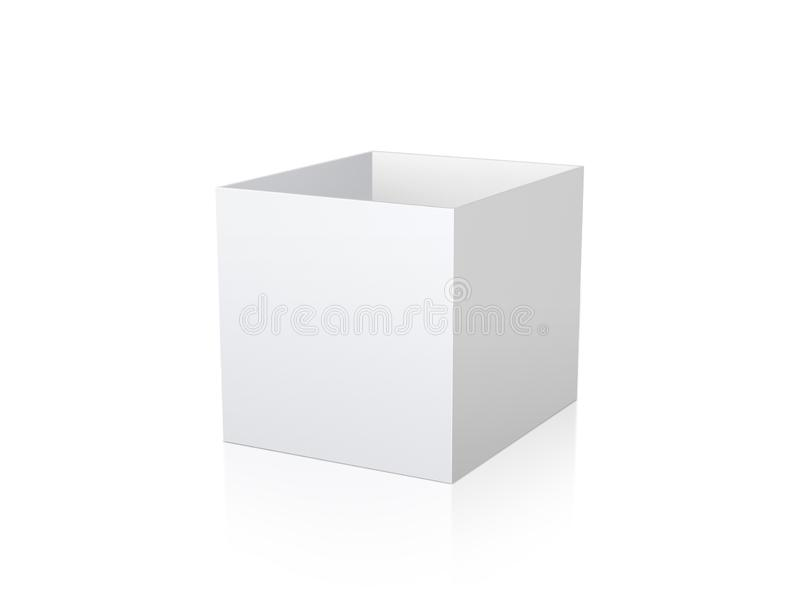 Blank white carton 3d box cube on background. 3d box design. 3d box template. 3d box vector. 3d box illustration. 3d box element f. Or design royalty free stock photography