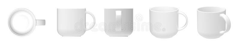 Blank white ceramic mug cup 5 view royalty free stock photos