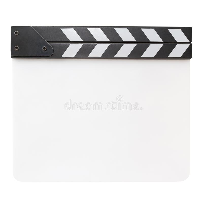 Blank white clapper board isolated on white background stock illustration