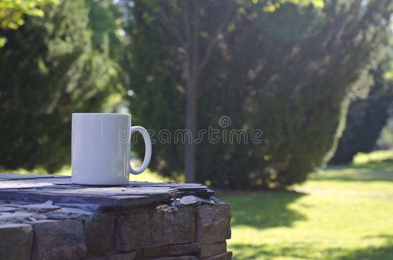 A blank white coffee mug on the ledge in the park. A blank white coffee mug on a stone ledge in the city park in the springtime morning sun royalty free stock photos