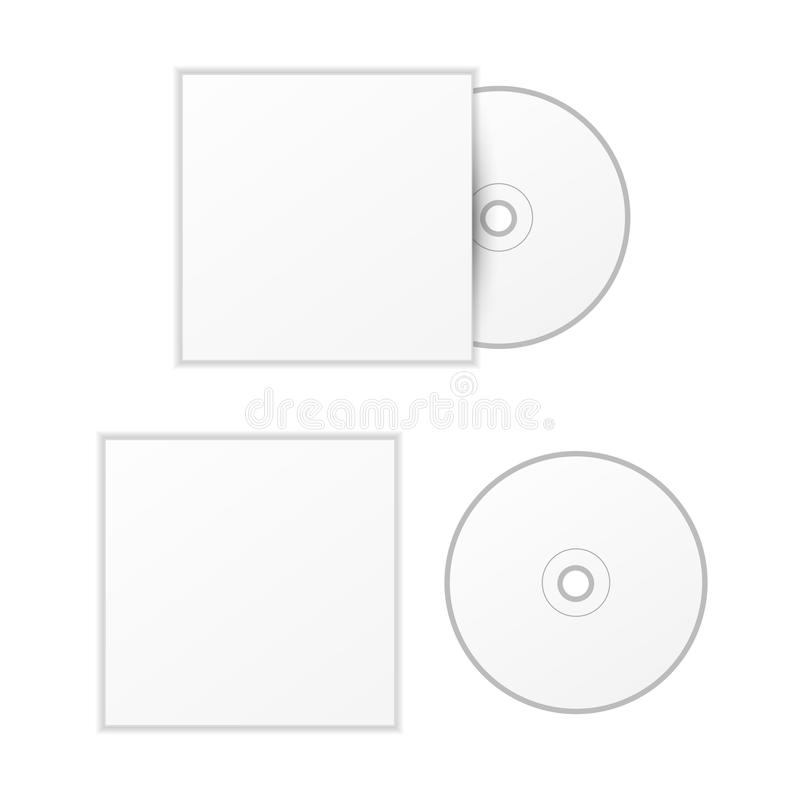 Blank White Compact Disk With Cover Mock Up Template Stock Vector ...