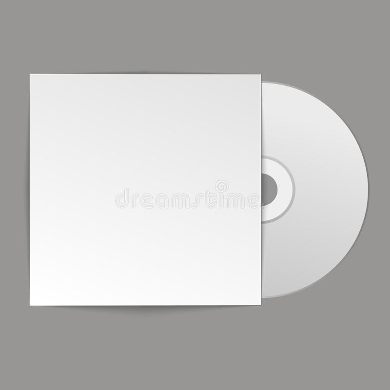 Free Blank White Compact Disk With Cover On Wooden Table And Concrete Wall Background. Mock Up. CD Disk. Vector Illustration Royalty Free Stock Photography - 102943077