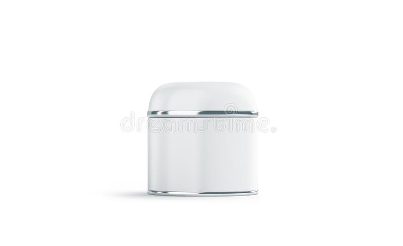 Blank white cosmetic can mock up, isolated. 3d rendering. Empty beautician bottle mockup, front view. Metal round box for makeup template stock photo