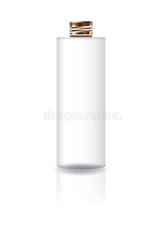 Blank white cosmetic cylinder bottle with copper lid for beauty product packaging. royalty free illustration