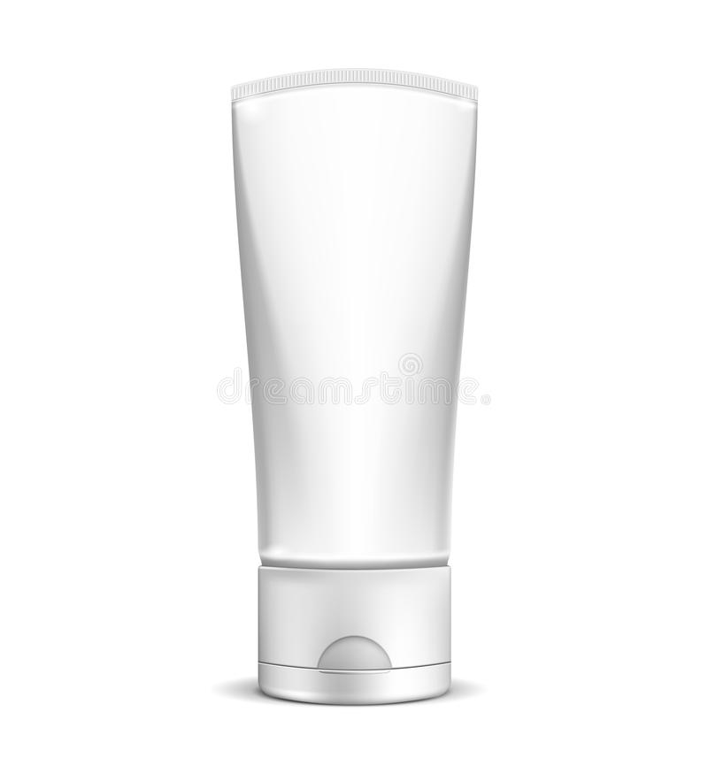 Blank white cream tube or cosmetic bottle. Vector Blank white cream tube or cosmetic bottle isolated on white background. EPS10 opacity royalty free illustration