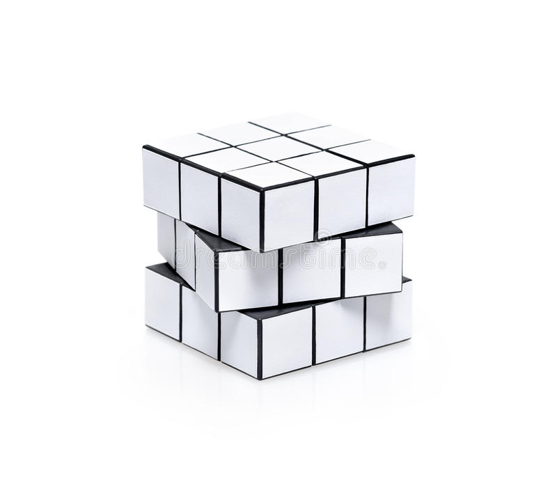 Blank white rubiks cube puzzle. Blank white cubic twist puzzle with copy space for your information. Isolated on white royalty free stock photo