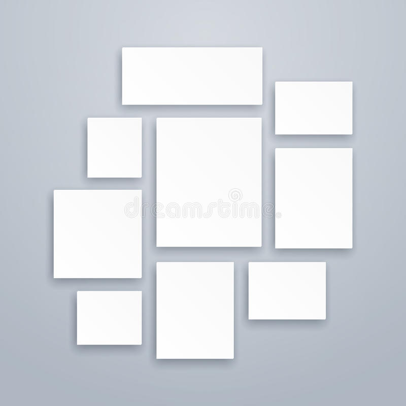 Blank white 3d paper canvas or photo frames. Vector posters mockups stock illustration