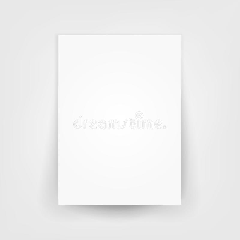 Blank white 3d Paper Canvas Vector. Empty Paper Sheet Illustration With Shadow stock illustration