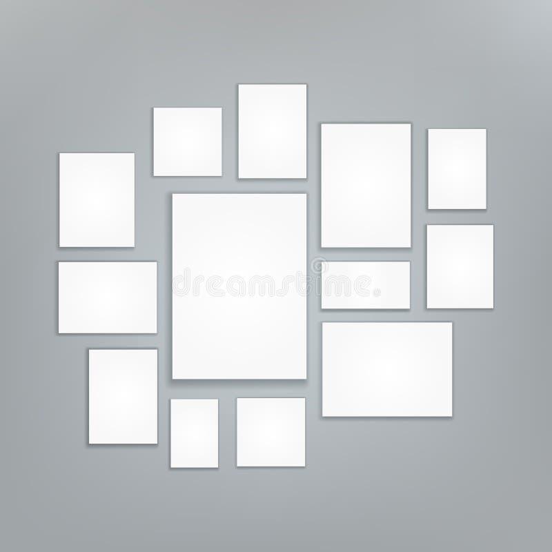 Blank white 3d Paper Canvas Vector. Posters Mock ups. Presentation Photography Portfolio. Illustration Of Creativity Portfolio Exh stock illustration
