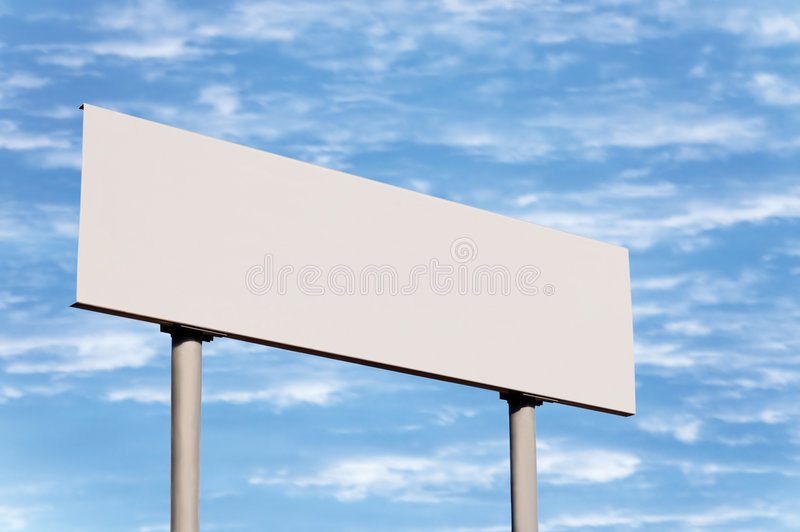 Blank White Directional Road Sign Guide Post Sky. Blank road sign without frame against sky; simply put your text there stock photos