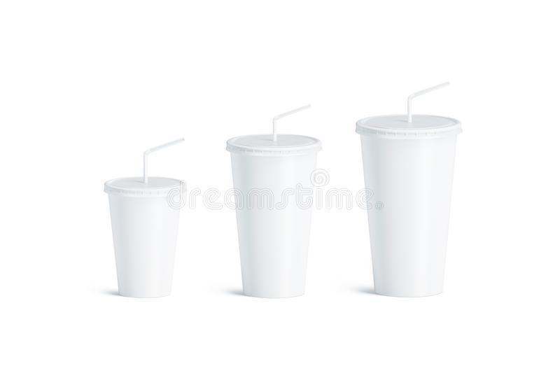 Blank white disposable cup straw mock up set isolated, royalty free illustration