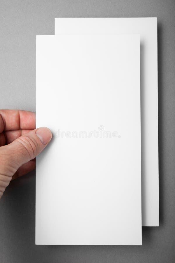 Blank white DL flyer brochure booklet. Leaflet presentation. Mock up.  stock image