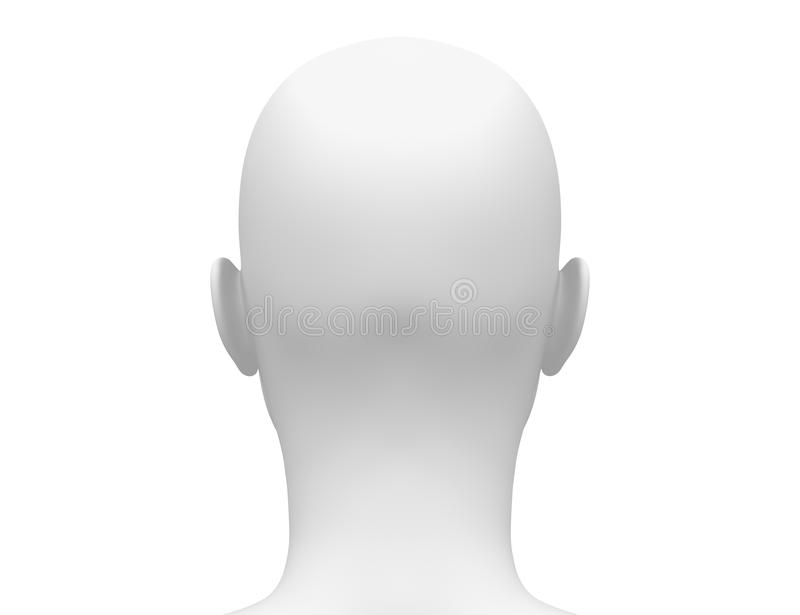 Blank White Female Head - Back view royalty free illustration